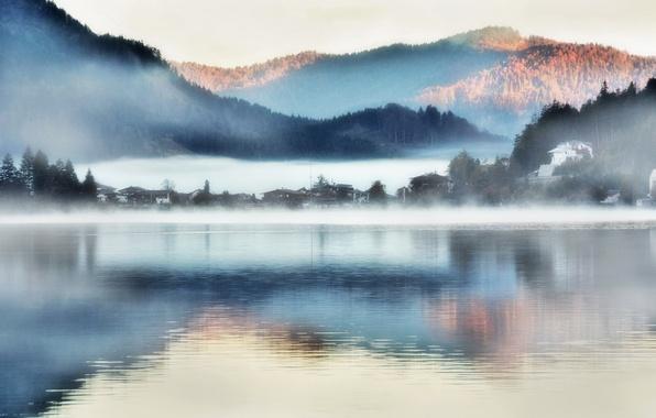 Фото обои горы, туман, озеро