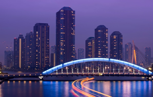 Картинка небо, ночь, мост, огни, река, небоскребы, выдержка, Япония, подсветка, Токио, мегаполис, столица, сиреневое