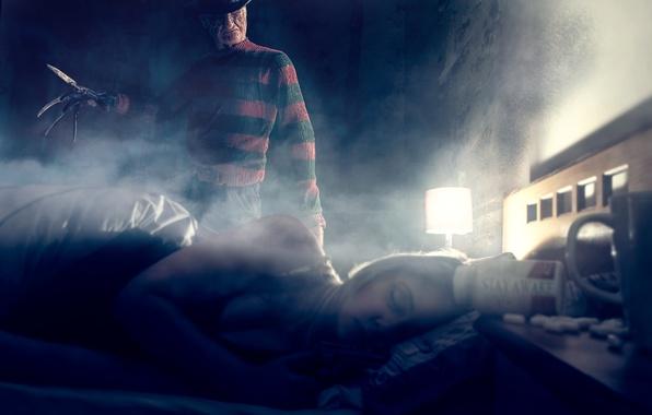 Картинка девушка, комната, сон, Фредди Крюгер, Freddy Krueger