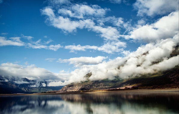 Картинка облака, горы, природа, озеро, Китай, Тибет