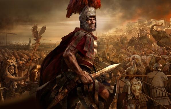 Картинка небо, огонь, пламя, война, меч, солдаты, шлем, битва, плащ, маски, слоны, щиты, копья, ножны, войско, …