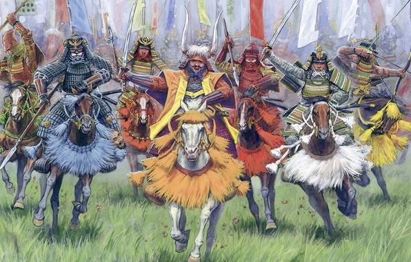 Картинка война, знамя, самураи, XVI - XVII вв., Конные