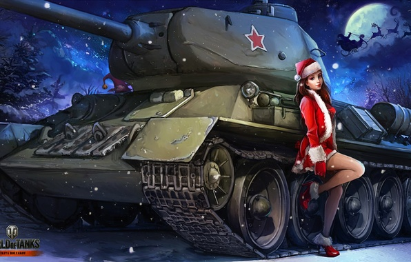 Картинка зима, девушка, снег, ночь, луна, рисунок, новый год, арт, танк, снегурочка, олени, в красном, советский, …