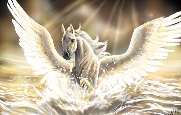 Картинка море, вода, солнце, лучи, лошадь, крылья, арт, грива, пегас, скачет