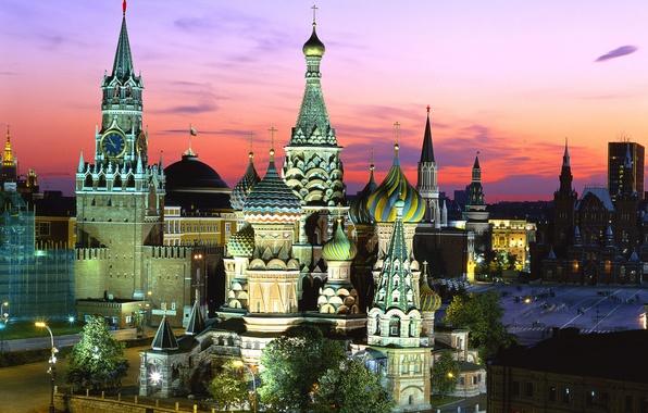 Картинка Москва, Храм Василия Блаженного, Россия, Красная площадь, Спасская башня
