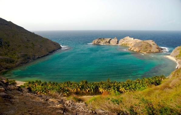 Картинка море, скалы, берег, бухта, виноград, залив, ocean, coast, water, mountains, rocks, пейзаж sea