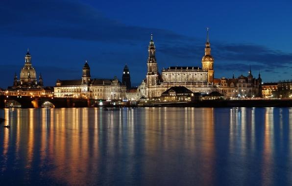 Картинка вода, свет, ночь, мост, отражение, здания, дома, Германия, Дрезден, архитектура, Germany, Dresden, Deutschland