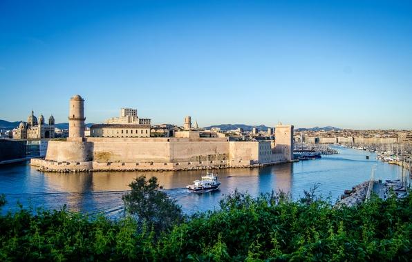 Картинка река, Франция, дома, яхты, лодки, канал, крепость, катера, Marseille, Fort Saint-Jean