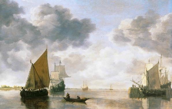 Картинка море, небо, пейзаж, тучи, люди, лодка, корабль, парусник, картина, горизонт, парус, Simon Jacobsz de Vlieger