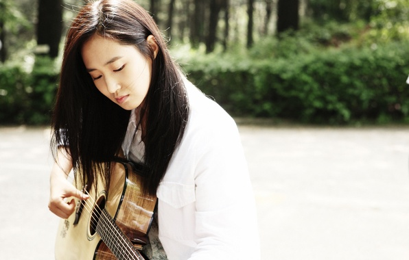 Картинка Girl, Music, Asian, Guitar, SNSD, Kpop, Singer, Outside, Outdoor, Girls' Generation, Yuri, Korean