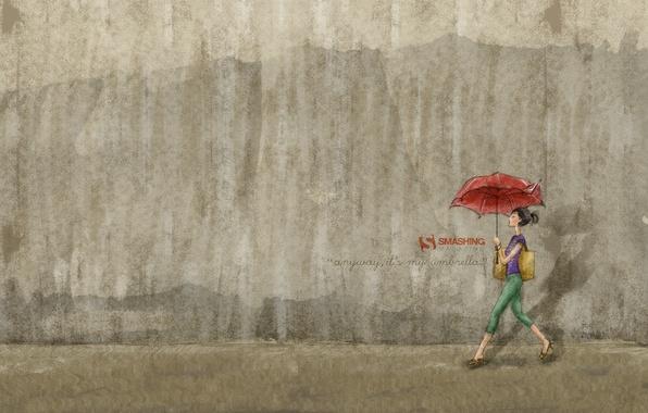 Картинка девушка, стена, зонт