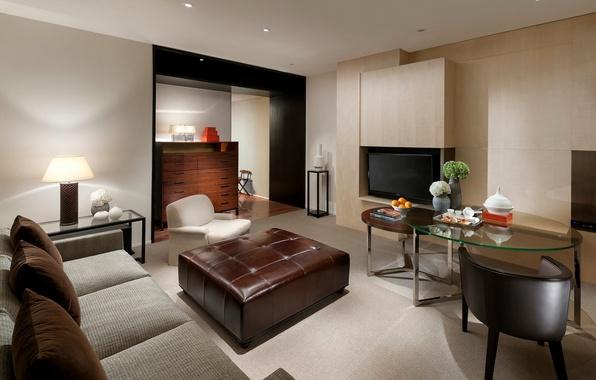 Картинка дизайн, стиль, серый, комната, диван, интерьер, телевизор, кресла, стеклянные, коричневый, гостиная, столики