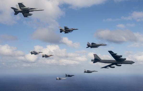 Картинка небо, полет, авиация, армия, самолеты