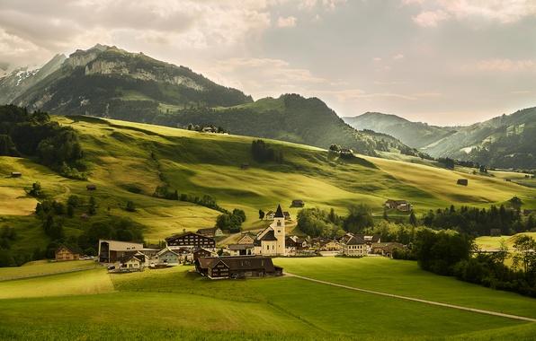 Картинка зелень, деревья, горы, поля, дома, Швейцария, Альпы, луга
