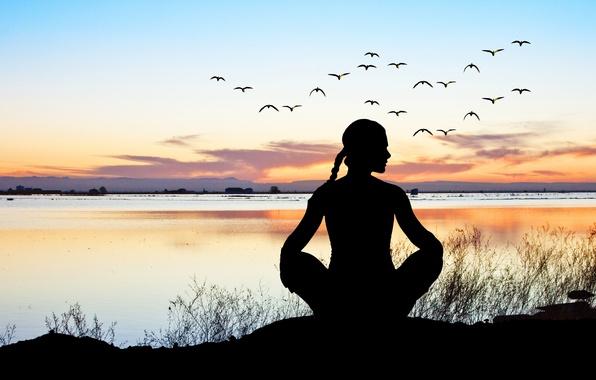 Картинка relax, sunset, pose, yoga