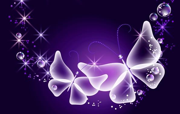 Картинка бабочки, abstract, glow, neon, purple, sparkle, butterflies, неоновые