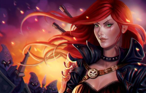 Картинка девушка, рыжая, League of Legends, Katarina, moba, riot games