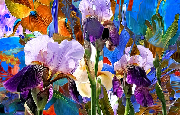 Картинка линии, цветы, рендеринг, краски, лепестки, ирис