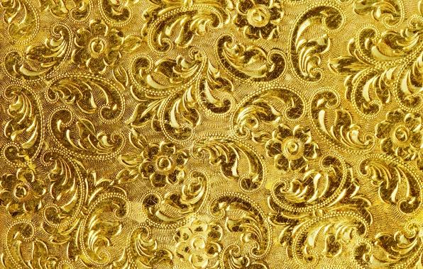 Картинка фон, золото, узор, текстура, golden, background, pattern