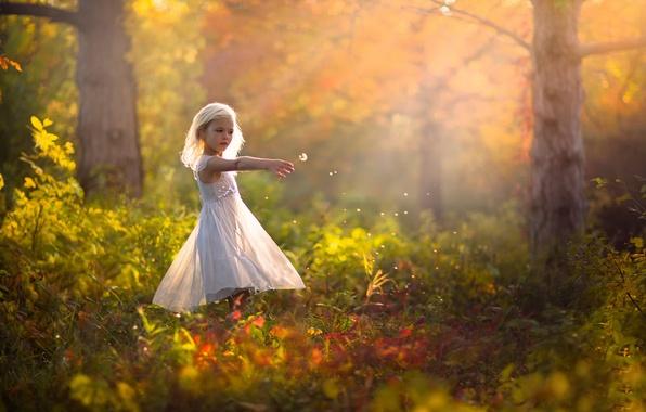 Картинка осень, природа, одуванчик, платье, девочка