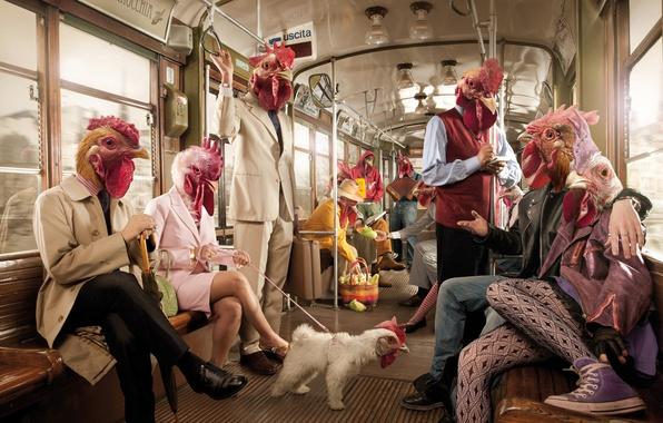 Картинка рендеринг, люди, метро, вагон, курицы, петух