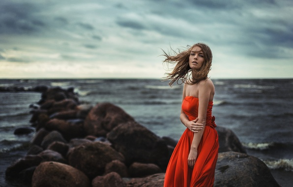 Картинка Girl, Light, Red, Nature, Clouds, Sky, Beautiful, Model, Blue, Beach, Water, White, Female, Beauty, Ocean, ...