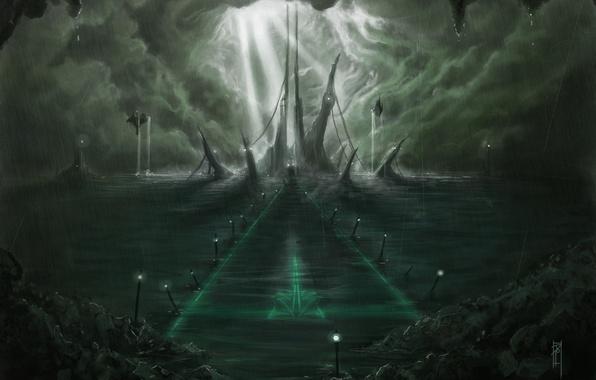 Картинка море, свет, тучи, город, дождь, скалы, остров, корабли, станция, арт, посадочная полоса