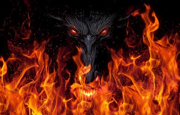 Картинка взгляд, фон, фантастика, огонь, черный, дракон, арт, пасть