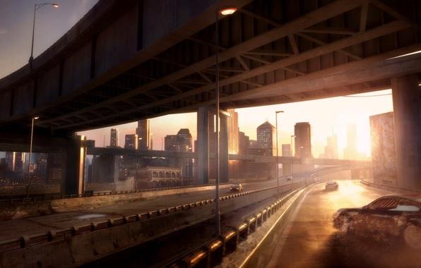 Картинка небо, солнце, свет, машины, мост, city, город, фантастика, рисунок, здания, дороги, sky, cars, bridge, roads, …