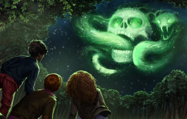 Картинка wallpaper, skull, girl, fantasy, magic, viper, snake, sky, trees, night, cloud, mark, stars, boy, symbol, …