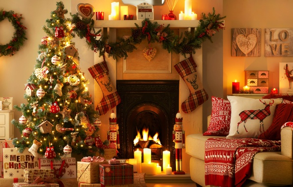 Картинки камин новый год елка на рабочий стол  Новогодние