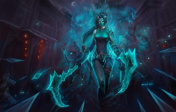 Картинка девушка, ночь, оружие, маска, Akali, Shen, League of Legends, Kennen