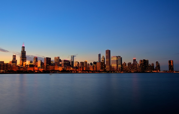 Картинка небо, вода, свет, закат, city, город, озеро, здания, дома, light, sky, sunset, water, lake, houses, …