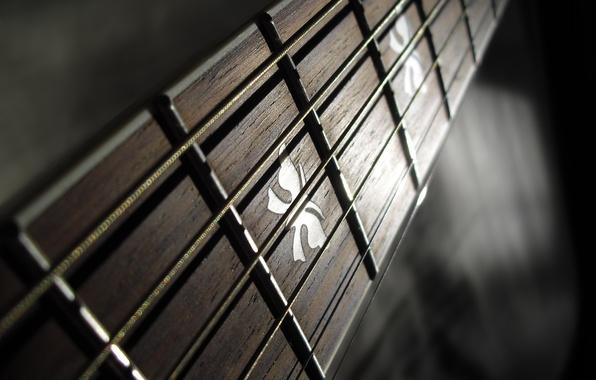 Картинка макро, струны, Гитара, Лады, Гриф