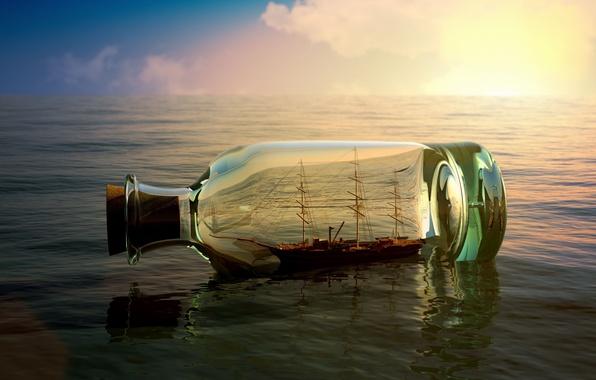 Картинка море, небо, вода, река, фон, обои, настроения, лодка, корабль, бутылка, wallpaper, sea, судно, широкоформатные, background, …