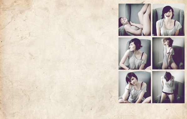 Картинка поза, улыбка, коллаж, Девушка, смех, кресло, брюнетка