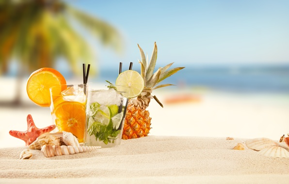 Картинка summer, beach, sand, fruit, drinks, tropical, cocktails