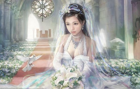 Картинка девушка, цветы, красота, букет, голуби, I-Chen Lin, невеста