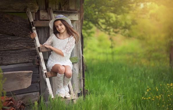 Картинка девочка, шляпка, Veselina Alexandrova, In the country