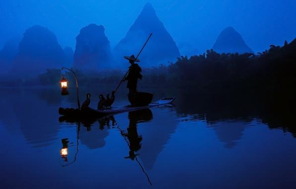 Картинка лес, вода, свет, отражение, река, лодка, китай, рыбак, утро, фонарь, бакланы