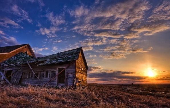 Картинка поле, небо, солнце, пейзаж, дом, view
