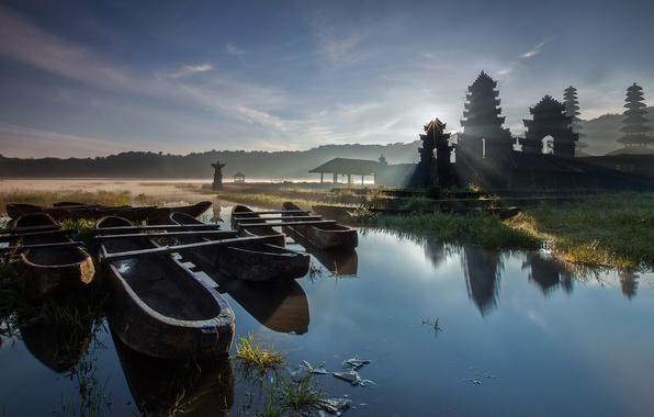Картинка вода, деревья, туман, озеро, лодка, утро, Азия, пагода