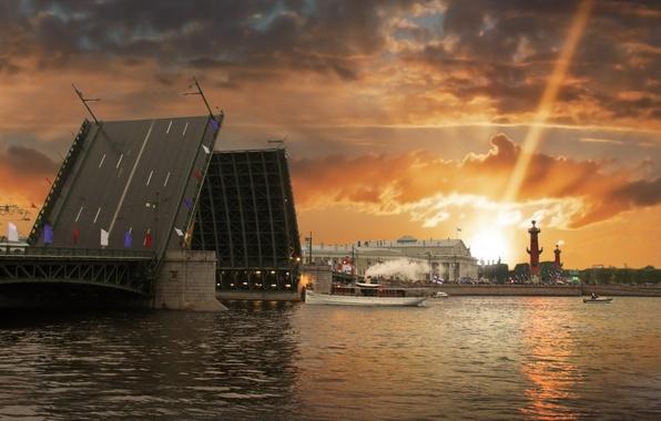 Картинка закат, мост, город, река