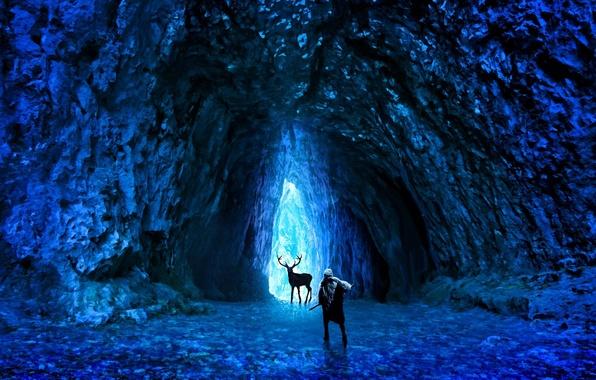 Фото обои оружие, alexiuss, холод, романтика апокалипсиса, арт, romantically apocalyptic, лед, олень, человек, пещера