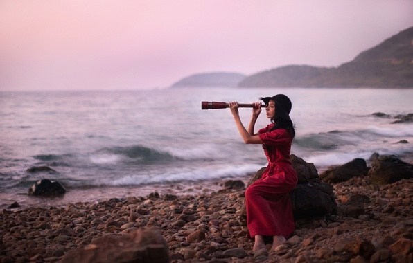 Картинка море, девушка, бинокль