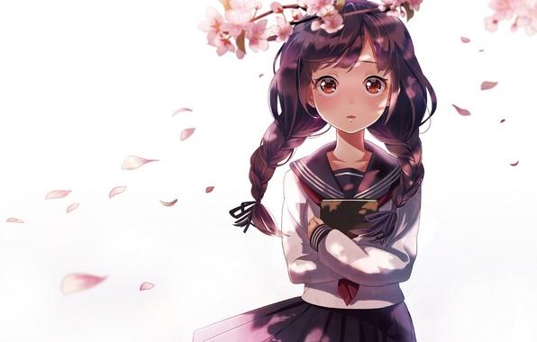 Картинка девушка, цветы, ветви, аниме, лепестки, сакура, арт, книга, косички, форма, школьница, sheep sleep