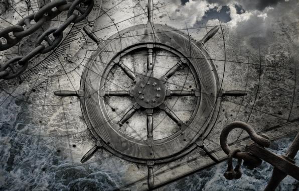 Картинка wood, map, rudder
