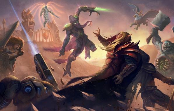 Картинка starcraft, Warcraft, Sonya, blizzard, diablo 3, blood elf, Jaina Proudmoore, Zeratul, Tyrael, Heroes of the …