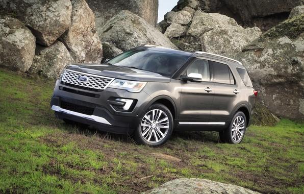 Картинка фото, Ford, Серый, Автомобиль, Explorer, 2016