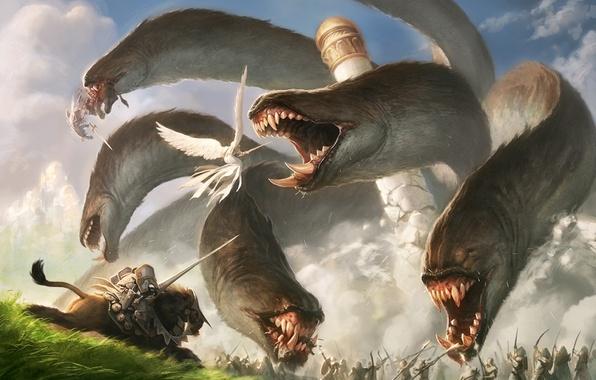 Картинка люди, конь, башня, крылья, монстр, ангел, меч, лук, арт, пасть, клыки, битва, гидра, пика, jason …